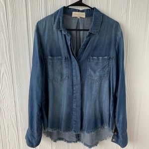 Tops - Long Sleeve Denim Chambray Relaxed Fit Shirt Sz M